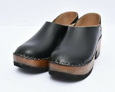 Womens Danish Denmark Vintage Wood Leather Clogs Platform Slip On Shoes Sz 7.5