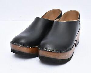 Multnomah Shoes OR USA Handmade Wood Leather Clogs Platform Slip On Shoes Sz 6