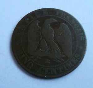 1855 FRENCH NAPOLEON III EMPEROR CINQ CENTIMES COIN