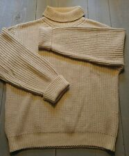 ORVIS KNITTED SWEATER Size Large Mens Turtleneck Tan 100% Cotton Heavy        W