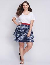 544c3520140 Lane Bryant Navy Blue   White Polka Dot Tiered Skirt 26 28 26w 28w