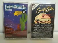 Country Music Cassette Tapes Lot of 2 Country Gold & Country Greatest Hits 14