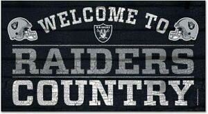 NFL Las Vegas Raiders Welcome to Country Wood Sign Holzschild Holz 61x33