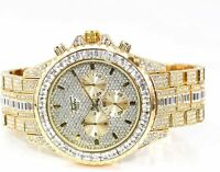 Men Fully Gold Iced Watch Bling Rapper Simulate Diamond Metal Band Luxury Style