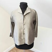 Eileen Fisher Silk Pewter Jacket Top Size Petite S Pockets
