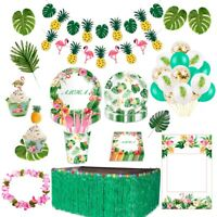 Hawaiian Artificial Flowers Leaves Bunting Banner Flamingo Party Decor Supplies