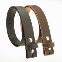 """BUFFALO LEATHER CASUAL BELT STRAP_No Buckle_1-1/4""""_Amish Handmade BLACK & BROWN"""