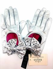 Guess Leather Dress Glove Formal Glossy Silver Sz S Hand Evening Driving Bow Glo