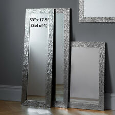 Kingsway Set Of 4 Mosaic Frame Silver Full Length Long Wall Mirrors 134x43cm