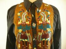 Womens M Pier 1 Imports Passports Embroidered Blouse Top Black Tribal Design L/S