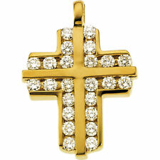 ( G-H , SI1) Cruz Diamante 45.7cm Collar en 14K Oro Amarillo 72Ct. Tw