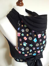MEI TAI BABY CARRIER / SLING / REVERSIBLE / OWLAND WITH BLACK/ STRAIGHT CUT