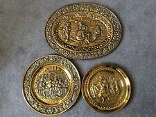 More details for vintage set of 3 brass tavern scene embossed charger plates.