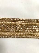 ATTRACTIVE INDIAN BRAIDED ROSE GOLD WITH CRYSTALS & GOLD LACE TRIM-SOLD by METRE
