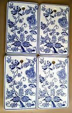 Vintage blue & White floral ceramic tile home/wall decor lot of 4
