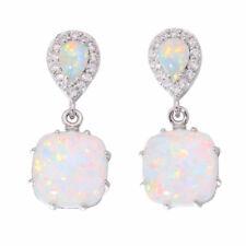 925 Silver Filled Fire Opal Ear Studs Hoop Earrings Wedding Jewelery For Women
