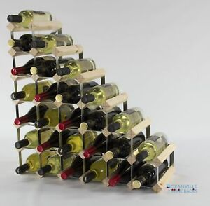 Cranville wine rack storage 27 bottle pine wood and metal wine rack assembled