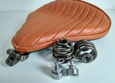 Large Solo Seat Heavy Duty Full Kit Tan & Bronze Harley Chopper Bobber Trike