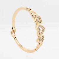 Fashion Women Ladies Gold Plated Crystal Love Heart Bangle Bracelet Cuff Jewelry