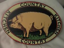 "NICE SOLID COUNTRY KITCHEN OVAL  PIGGY WALL PLAQUE - CUTE - 15 1/2"" X 11 1/4"""