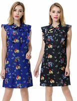 Women's Flora Print Tie Neck Swing Dress