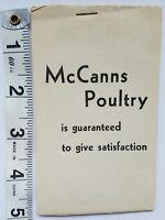 A11 Vintage McCanns Poultry Recipes Advertisement Pamphlet Booklet