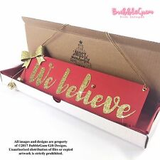 We Believe Red Gold Christmas sign glitter bow handmade jingle bells traditional