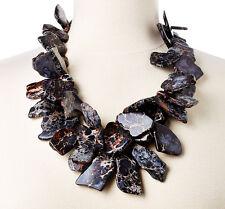Black Grey Hues Jasper Chunky Gem Nest Necklace Statement Jewelry MADE IN USA LG