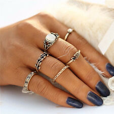6Pcs/Set Vintage Women Gold Plated Boho Midi Finger Knuckle Rings Jewelry Gift