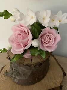 Pale Pink Roses With Freesias Cake topper/decoration