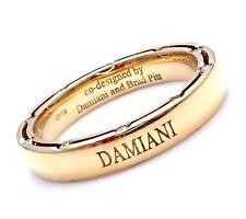 Rare Authentic Damiani Brad Pitt 18k Yellow Gold 20 Diamond 4mm Band Ring Sz 8.5