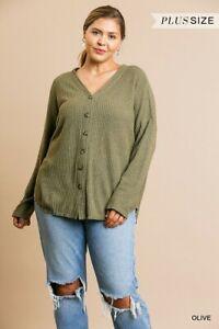 Umgee Olive Green Waffle Knit Long Sleeve Cardigan Sweater Plus Size XL