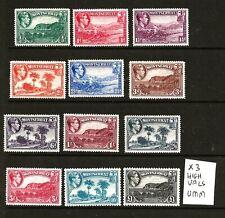 More details for montserrat (z-697) 1938 sg101a-112 full set to £1.00 (3 top values umm ) rest mm