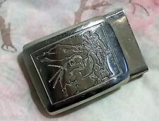 ANCIENNE BOUCLE DE CEINTURE métal chromé CORRIDA Torero toréador 48 x 32 mm *