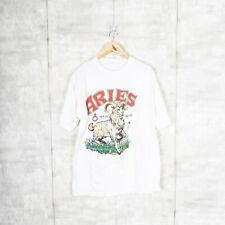 Vintage 1987 Aries Zodiac Sign Astrology BIG PRINT T-Shirt White Size Large