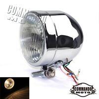 Chrome Fish Eye Retro Headlight Head Lamp Bottom Mount For Harley Bobber Chopper