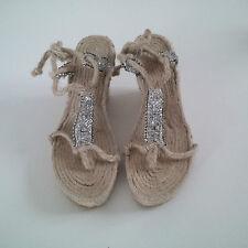 Sandals EU 41 boho hippie chic summer wedding ibiza natural fiber jute swarovski