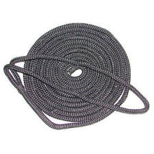 3/4 Inch x 25 Ft Black Double Braid Nylon Mooring and Docking Line for Boats