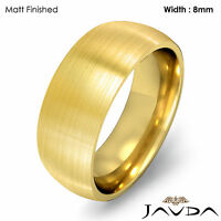 Comfort Men Wedding Band Solid Dome Plain Ring 8mm 18k Gold Yellow 13.9gm 9-9.75