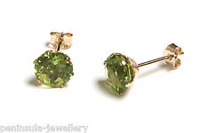 9ct Gold Peridot Round Stud earrings Gift Boxed Studs Made in UK Christmas Gift