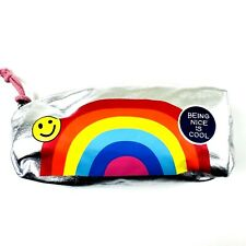 Cat and Jack Girls Metallic Silver Zipper Top Rainbow Graphic Pencil Case Pouch