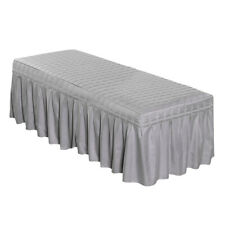 """Solid Massage Table Skirt Bed Valance Sheet Cover w/ Face Hole 75x28"""" Gray"""