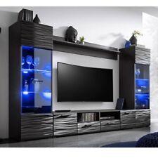 Wohnwand MODIC Anbauwand Wohnzimmer- Set Vitrine Lowboard schwarz hochglanz LED