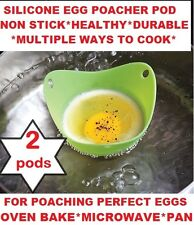 Egg Poachers Silicone Pods Cups 2 Kitchen Cookware Breakfast Poached Eggs