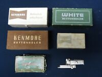 LOT VINTAGE ANTIQUE SINGER GREIST KENMORE WHITE SEWING MACHINE ATTACHMENTS ACCES