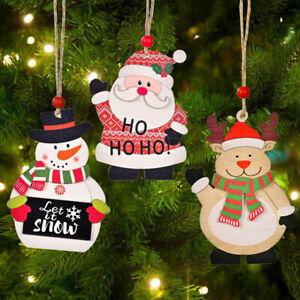 Christmas Printing Elk Snowman Wooden Ornaments Pendant DIY Home Decoration