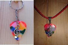 Keychain/Necklace Combo - Multi Colored Pick/Clef Note Charm/Red Cord