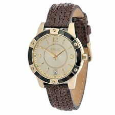 Relic by Fossil Payton Gold Tone Brown Woven Womens Watch ZR12029