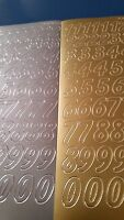 Peel Off stickers - Gold/Silver Large Numbers x 2 sheets