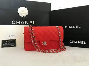NEW Chanel Red Quilted Lambskin Leather Classic Double Flap Bag - Small